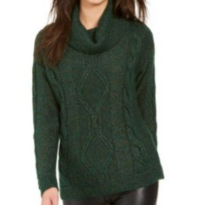 Charter Club Cowl Neck Cable Knit Glitter Sweater